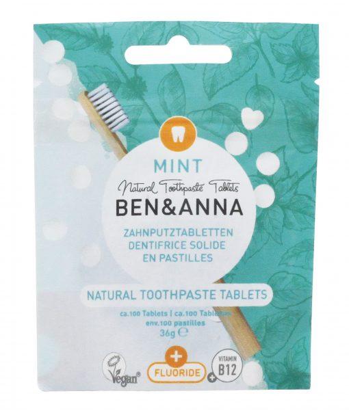 Prírodná zubná pasta BEN&ANNA tablety, 36g – Mint s fluoridom
