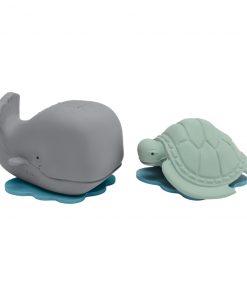 HEVEA Veľryba Ingolf & Korytnačka Dagmar – hračky na kúpanie